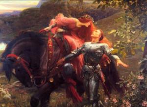 Le chevalier et la fille en rouge (Sir Frank Bernard Dicksee)
