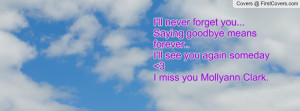 ll never forget you... Saying goodbye means forever..I'll see you ...
