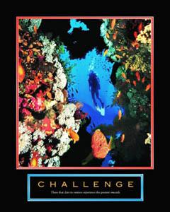 CHALLENGE Scuba Diving Motivational Poster Print - Front Line Art ...
