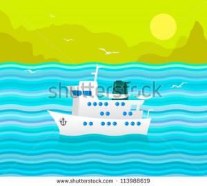 Funny vector cruise ship in the blue sea - stock vector