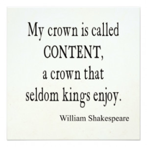 Crown Content Seldom Kings Enjoy Shakespeare Quote Custom Invite