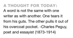 ... guts. The other pulls it out of his overcoat pocket. -Charles Peguy