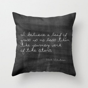 Velveteen Pillow - Leaf of Grass - Whitman Quote Pillow - Typography ...