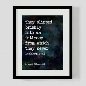 8x10 Print F. Scott Fitzgerald Love Literary Quote Wall Art, Decor - 2 ...