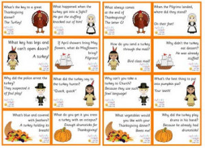 You can print these Thanksgiving Jokes at Activity Village