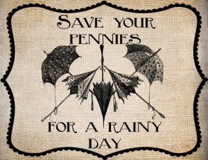 Antique Umbrellas Save Pennies Rainy Quote Saying Illustration Digital ...