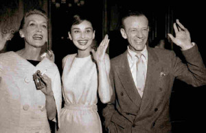 Thompson, Audrey Hepburn and Fred Astaire arrive in Paris for location ...