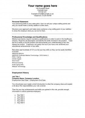 Medical Secretary Free Cv Template picture