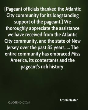 Art McMaster - [Pageant officials thanked the Atlantic City community ...