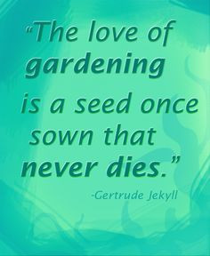 The love of #gardening is a seed once sown that never dies