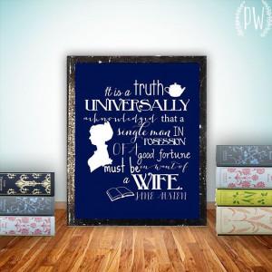 Jane Austen Quote print printable wall art decor poster, digital - It ...