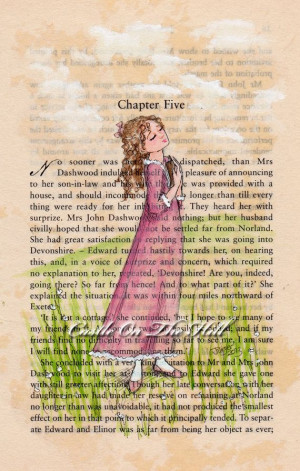 ... Austen Sense and Sensibility Marianne original painting on book page