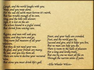 Solitude Ella Wheeler Wilcox