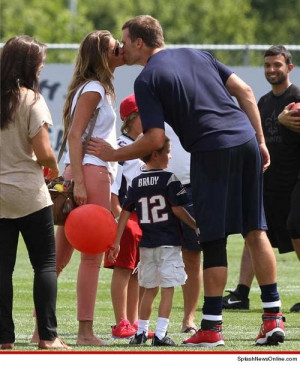 Tom Brady Plays With His 2 Sons, Ben & Jack, At Patriots Training Camp
