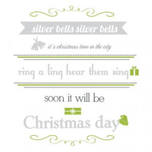 in. x 40 in. Silver Bells Quote 17-Piece Peel and Stick Wall Decals