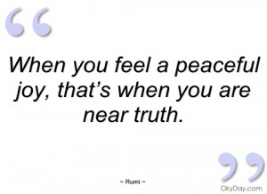 when you feel a peaceful joy rumi