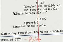 Script of The Day the Earth Stood Still (1951) showing the phrase ...