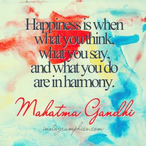 Happiness Harmony Mahatma Gandhi Quote Graphic