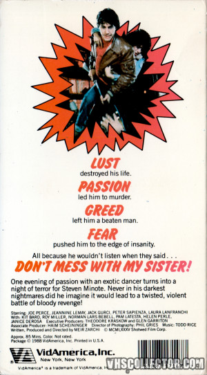 Don't Mess With My Sister! Vhs Back Cover