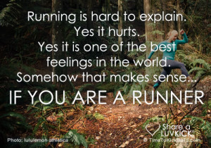 Running is hard to explain. Yes it hurts. Yes it is one of the best ...