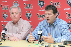 Steve Alford, with New Mexico Athletic Director Paul Krebs at his ...