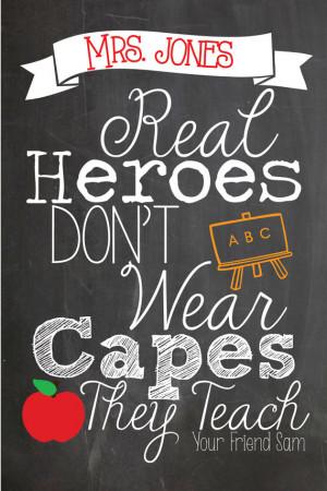 personalized Teacher appreciation quote, chalkboard style