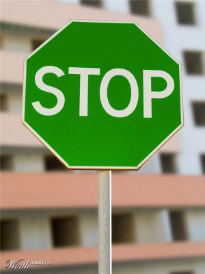 Green Stop Sign Stop? go? i'm so confused!