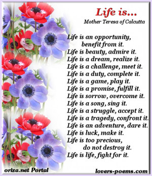 life is an opportunity benefit from it life is beauty admire it life ...