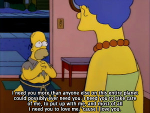 cute, i need you, love, quote, simpsons