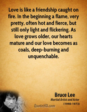 Love is like a friendship caught on fire. In the beginning a flame ...