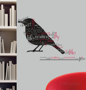 Blackbird Beatles Quote Peel & Stick Wall Decals Wall Decal