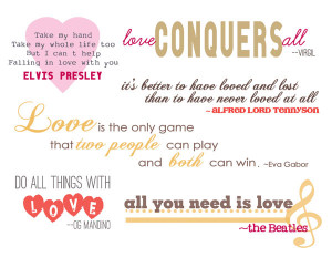Quotations and Word Art for Scrapbooking Love and Valentine's Day