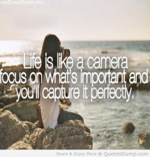 Life Is Like A Camera Focus On Whats Important And You'll Capture It ...