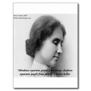 Helen Keller & Famous Deaf/Blind Quote Postcards