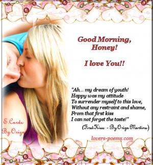 Good morning, Honey! I Love You!