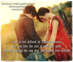 Love is not defined as finding someone you can live the rest of your ...