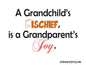 Grandchild's Mischief, Is A Grandparent's Joy.
