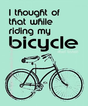 Bicycle Einstein Vintage Green Quote Giclee 11x14 Mint Retro Green ...