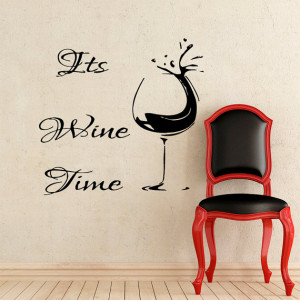Wall Decals It's Wine Time Quote Home Decor Vinyl Sticker Decal ...