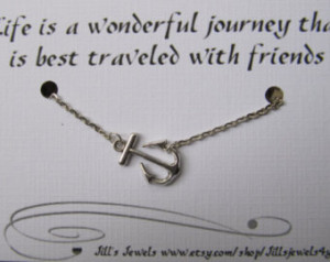 Best Friend Necklace with Sideways Anchor Charm and Friendship Quote ...