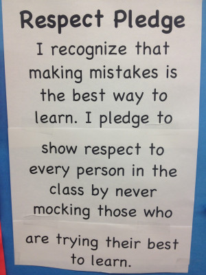 After we read the quotes together I shared this Respect Pledge: