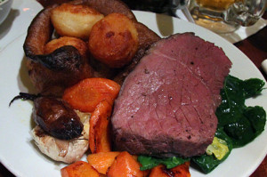 ... of roast beef and check out the massive piece of roast garlic with it