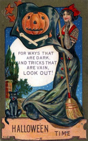 ... Halloween Poster Made From Circa 1910 Postcard Sexy Vain Witch 18
