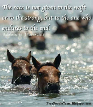 ... to the swift or to the strong, but to the one who endures to the end