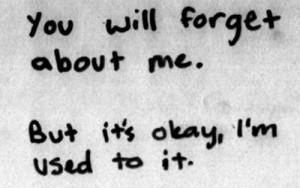 You will forget about me. But it's okay i'm used to it.
