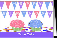 Happy Birthday to Twins, Boy & Girl, Custom Text, Two Cupcakes card ...