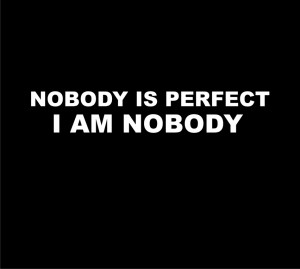 Home | Fun shirts | nobody is perfect, I am nobody