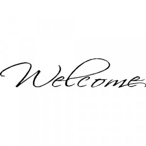 WELCOME.WALL WORD QUOTES SAYINGS ART LETTERING DECALS, BLACK