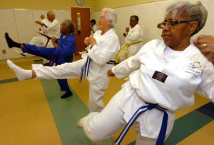 free for seniors 68 kicks during a senior self defense class at lou ...