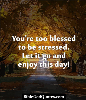 You're too blessed to be stressed. Let it go and enjoy this day! http ...